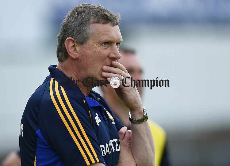 Donal Moloney, Clare manager, on the sideline during their Intermediate All-Ireland final against Kilkenny at Thurles. Photograph by John Kelly.