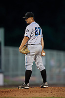 Hudson Valley Renegades relief pitcher Colby White (27) during a NY-Penn League game against the Mahoning Valley Scrappers on July 15, 2019 at Eastwood Field in Niles, Ohio.  Mahoning Valley defeated Hudson Valley 6-5.  (Mike Janes/Four Seam Images)