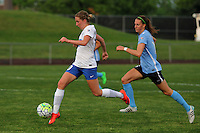 Piscataway, NJ - Friday May 13, 2016: Boston Breakers midfielder Louise Schillgard (10) and Sky Blue FC midfielder Sarah Killion (16). Sky Blue FC defeated the Boston Breakers 1-0 during a regular season National Women's Soccer League (NWSL) match at Yurcak Field.