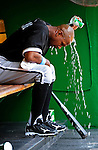 20 June 2010: Chicago White Sox' outfielder Juan Pierre cools off in the dugout prior to a game against the Washington Nationals at Nationals Park in Washington, DC. The White Sox swept the Nationals winning 6-3 in the last game of their 3-game interleague series. Mandatory Credit: Ed Wolfstein Photo
