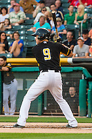 Alex Yarbrough (9) of the Salt Lake Bees at bat against the Tacoma Rainiers in Pacific Coast League action at Smith's Ballpark on August 31, 2015 in Salt Lake City, Utah. Salt Lake defeated Tacoma 6-5. (Stephen Smith/Four Seam Images)