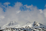 Mountains of the Sierra Nevada in winter near Carson Pass, Alpine County, California