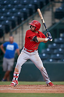 Jose Guzman (16), of the AZL Angels, at bat during an Arizona League game against the AZL Padres 1 on August 5, 2019 at Tempe Diablo Stadium in Tempe, Arizona. AZL Padres 1 defeated the AZL Angels 5-0. (Zachary Lucy/Four Seam Images)
