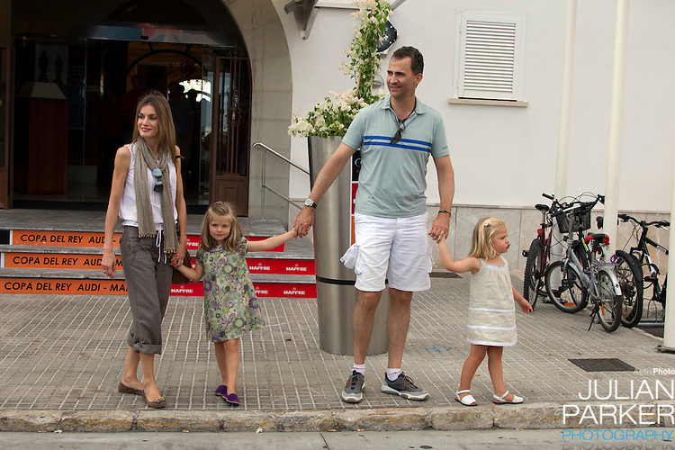 Crown Princess Letizia, and daughters Princess Leonor, and Princess Sofia, arrive at The Royal Yacht Club, in Palma, Mallorca, to meet.Crown Prince Felipe after he  competed  in the second day of the Copa Del Rey sailing regatta
