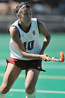Stanford, CA - SEPTEMBER 27:  Forward Stephanie Byrne #10 of the Stanford Cardinal during Stanford's 7-0 win over the Pacific Tigers on September 27, 2008 at the Varsity Field Hockey Turf in Stanford, California.