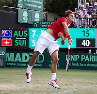 ROGER FEDERER (SUI) against LLEYTON HEWITT (Aus) in the Second Rubber of the Davis Cup between Australia and Switzerland. Roger Federer beat Lleyton Hewitt 5-7 7-6 6-2 6-3..Tennis - Davis Cup - World Group - Royal Sydney Golf Club - Sydney - Day 1 - Friday September 16th 2011..© AMN Images, Barry House, 20-22 Worple Road, London, SW19 4DH, UK..+44 208 947 0100.www.amnimages.photoshelter.com.www.advantagemedianetwork.com.