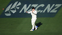 Henry Nicholls fielding.<br /> New Zealand Blackcaps v England. 1st day/night test match. Eden Park, Auckland, New Zealand. Day 4, Sunday 25 March 2018. &copy; Copyright Photo: Andrew Cornaga / www.Photosport.nz