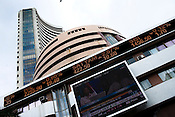 The stock index of Reliance Industries (RIL), Satyam and State Bank of India (SBI) etc. is seen outside the Bombay Stock Exchange in Mumbai, India.