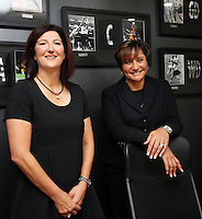 16.05.2013 New Silver Ferns assistant coach Vicki Wilson with head coach  Waimarama Taumaunu at the Netball New Zealand offices in Auckland New Zealand. Mandatory Photo Credit ©Michael Bradley.