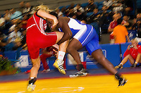 17 JUL 2010 - SHEFFIELD, GBR - Ohenewa Akuffo (CAN)(blue) v Agnieszka Wieszczek (POL)(red) - GB Cup .(PHOTO (C) NIGEL FARROW)