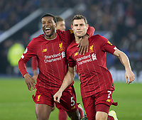 26th December 2019; King Power Stadium, Leicester, Midlands, England; English Premier League Football, Leicester City versus Liverpool; James Milner of Liverpool hugged by Georginio Wijnaldum of Liverpool after scoring a penalty in the 71st minute - Strictly Editorial Use Only. No use with unauthorized audio, video, data, fixture lists, club/league logos or 'live' services. Online in-match use limited to 120 images, no video emulation. No use in betting, games or single club/league/player publications