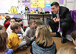 Nevada Gov. Brian Sandoval talks with first graders at Pleasant Valley Elementary School south of Reno, Nev., on Tuesday, Feb. 7, 2012. Sandoval released his economic development plan Tuesday, including a goal of creating 50,000 jobs by 2014..Photo by Cathleen Allison