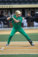 Eric Gilgenbach (15) of the Notre Dame Fighting Irish at bat against the Wake Forest Demon Deacons at David F. Couch Ballpark on March 10, 2019 in  Winston-Salem, North Carolina. The Fighting Irish defeated the Demon Deacons 8-7 in 10 innings in game two of a double-header. (Brian Westerholt/Four Seam Images)