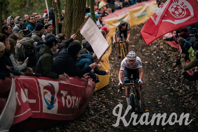 European CX Champion Mathieu van der Poel (NED/Corendon-Circus) leading the race<br /> <br /> Men's race<br /> Superprestige Asper-Gavere 2018 (BEL)