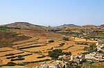 Rural landscape view from Rabat Victoria west towards Gharb, Gozo, Malta