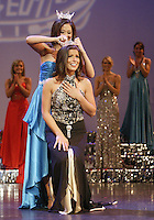 12 July, 2008:    2007 Miss Washington winner Elyse Umemoto places the crown on Miss Tahoma Janet Harding (front) head after she was announced the 2008 Miss Washington pageant winner at the Pantages Theater in Tacoma , Washington.