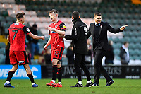 Grimsby Town Manager Michael Jolley right celebrates at the final whistle during Yeovil Town vs Grimsby Town, Sky Bet EFL League 2 Football at Huish Park on 9th February 2019