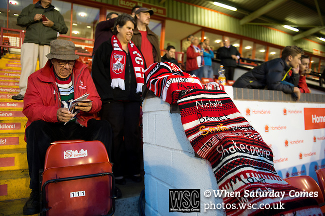 Walsall 1 Chelsea 4, 23/09/2015. Bescot Stadium, Capital One Cup Third Round. League One Walsall host struggling Premier League Chelsea. After drawing the Londoners, Saddlers supporters sold out the Bescot Stadium hoping for an upset. The match was watched by 10,525. An impressive Walsall knitted scarf on display. Photos by Simon Gill.