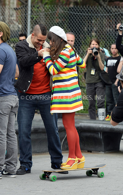 "WWW.ACEPIXS.COM . . . . .  ....April 29 2011, New York City....Mark Salling and Lea Michele on the set of the hot TV show ""Glee"" in Washington Square Park on April 29 2011 in New York City....Please byline: PHILIP VAUGHAN - ACE PICTURES.... *** ***..Ace Pictures, Inc:  ..Philip Vaughan (212) 243-8787 or (646) 679 0430..e-mail: info@acepixs.com..web: http://www.acepixs.com"
