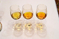Wine glasses. Chateau d'Yquem, Sauternes, Bordeaux. 2001, 1988, 1975. Bordeaux, France