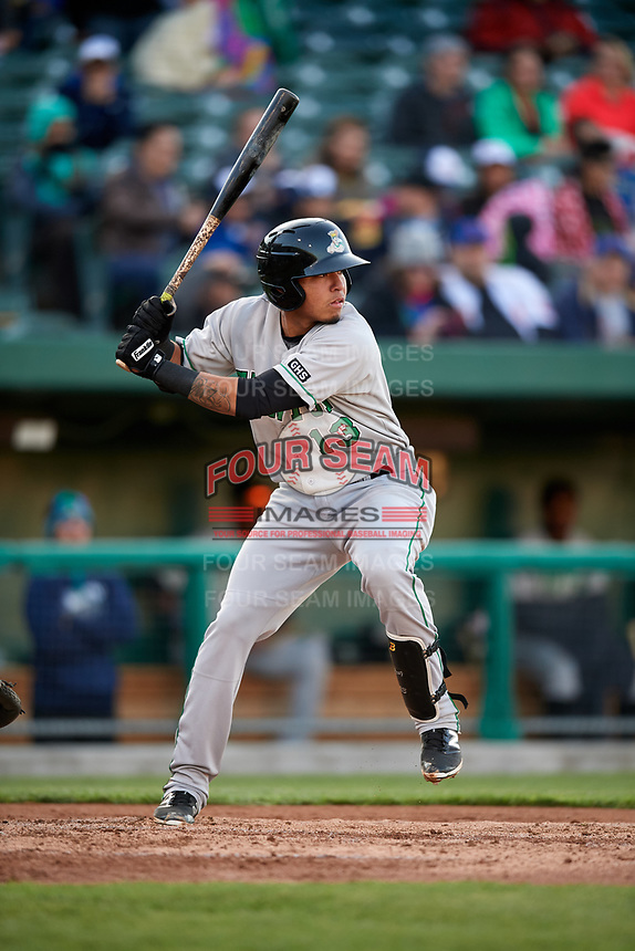 Clinton LumberKings shortstop Rayder Ascanio (13) at bat during a game against the South Bend Cubs on May 5, 2017 at Four Winds Field in South Bend, Indiana.  South Bend defeated Clinton 7-6 in nineteen innings.  (Mike Janes/Four Seam Images)