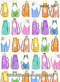 Kate, GIFT WRAPS, GESCHENKPAPIER, PAPEL DE REGALO, paintings+++++Madly bright cats,GBKM347,#gp#, EVERYDAY