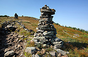 Appalachian Trail - Rock cairns near the summit of Mount Moosilauke during the summer months in the White Mountains, New Hampshire USA