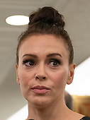 Actress Alyssa Milano is interviewed at the conclusion of the testimony of Dr. Christine Blasey Ford  before the US Senate Committee on the Judiciary on the nomination of Judge Brett Kavanaugh to be Associate Justice of the US Supreme Court to replace the retiring Justice Anthony Kennedy on Capitol Hill in Washington, DC on Thursday, September 27, 2018.   <br /> Credit: Ron Sachs / CNP<br /> (RESTRICTION: NO New York or New Jersey Newspapers or newspapers within a 75 mile radius of New York City)