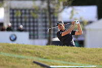 Haydn Porteous (RSA) prepares to play his 2nd shot from a fairway bunker on the 17th hole during Thursday's Round 1 of the 2017 Omega European Masters held at Golf Club Crans-Sur-Sierre, Crans Montana, Switzerland. 7th September 2017.<br /> Picture: Eoin Clarke | Golffile<br /> <br /> <br /> All photos usage must carry mandatory copyright credit (&copy; Golffile | Eoin Clarke)
