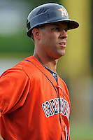 Greenville Astros manager Josh Bonifay #17 during a game against the Kingsport Mets at Pioneer Park on August 4, 2013 in Greenville, Tennessee. The Astros won the game 17-1. (Tony Farlow/Four Seam Images)