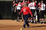 RALEIGH, NC - MARCH 29: Liberty head coach Dot Richardson. The North Carolina State University Wolfpack hosted the Liberty University Flames on March 29, 2017, at Dail Softball Stadium in Raleigh, NC in a Division I College Softball game. Liberty won the game 5-3.