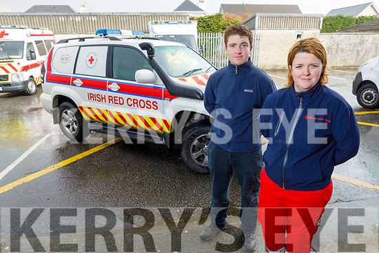 Thomas White and Majella Forde of the Tralee Red Cross - who are calling on all past members to help, looking for drivers B, C, and D licenses, and any medical personnel to assist them during the national crisis, pictured at the Red Cross Building in Tralee on Monday.
