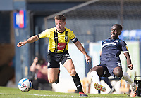 Josh Falkingham, Harrogate Town,  robs Elvis Bwomono, Southend United, on the touchline during Southend United vs Harrogate Town, Sky Bet EFL League 2 Football at Roots Hall on 12th September 2020