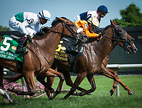 WILMINGTON, DE - JULY 8: Guilty Twelve #6, ridden by Chris DeCarlo, winning the G3 Robert Dick Memorial at Delaware Park in Wilmington, Delaware. (Photo by Sophie Shore/Eclipse Sportswire/Getty Images)