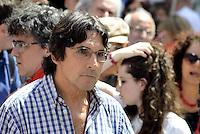 Roma, 20 Maggio 2015<br /> Piero Bernocchi, Cobas<br /> Protesta in Piazza Montecitorio contro il DDL scuola in discussione e votazione alla Camera