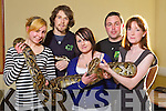 Wildlife biology students at Tralee IT had a visit from Reptile Village,  Kilkenny on Friday from left Siobhan Ardener, Danny Coady (Reptile Village, Conservation Zoo) Louise Overy, James Hennessy (Reptile Village, Conservation Zoo) and Hazel Keane.
