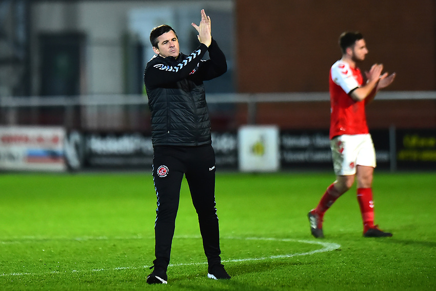 Fleetwood Town manager Joey Barton  applauds the fans<br /> <br /> Photographer Richard Martin-Roberts/CameraSport<br /> <br /> The EFL Sky Bet League One - Fleetwood Town v Portsmouth - Saturday 29th December 2018 - Highbury Stadium - Fleetwood<br /> <br /> World Copyright © 2018 CameraSport. All rights reserved. 43 Linden Ave. Countesthorpe. Leicester. England. LE8 5PG - Tel: +44 (0) 116 277 4147 - admin@camerasport.com - www.camerasport.com