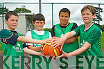 Practising their basketball skills at the Team Kerry Basketball Camp in Tralee last week. .L-R Kevin O'Connor, Eoghan Leahy, Alusin Jah and Cillian Gallagher.