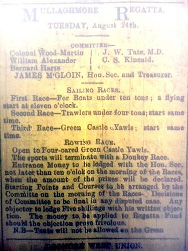 1885 Mullaghmore Regatta poster