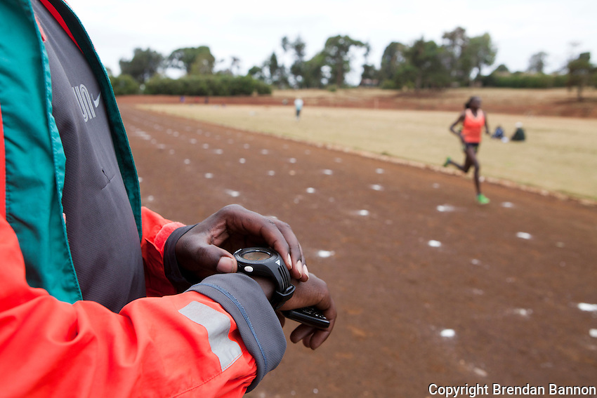 Kenyan 5000 meter star Sylvia Kibet trains at the  local track in Iten, Kenya under supervison of her husband Erastus Limo. Kibet is hoping for a spoyt on the Kenyan Olympic team in 2012.