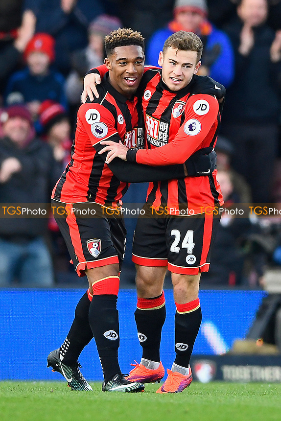 Jordan Ibe of AFC Bournemouth left congratulates Ryan Fraser on scoring the second AFC Bournemouth goal during AFC Bournemouth vs Liverpool, Premier League Football at the Vitality Stadium on 4th December 2016
