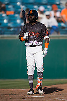 San Jose Giants left fielder Jacob Heyward (33) at bat during a California League game against the Lancaster JetHawks at San Jose Municipal Stadium on May 12, 2018 in San Jose, California. Lancaster defeated San Jose 7-6. (Zachary Lucy/Four Seam Images)