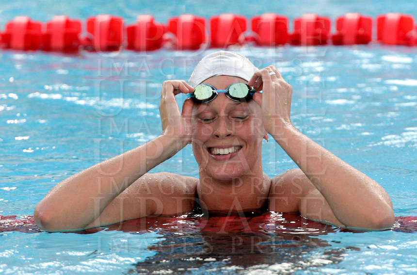 Italy's Federica Pellegrini reacts after setting the new world record clocking 3.59.15 during the women's 400 meters freestyle at the Swimming World Championships in Rome, 26 July 2009..UPDATE IMAGES PRESS/Riccardo De Luca