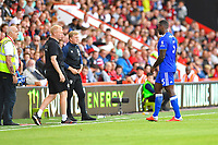 Wes Morgan of Leicester City goes off the pitch after being given a red card during AFC Bournemouth vs Leicester City, Premier League Football at the Vitality Stadium on 15th September 2018