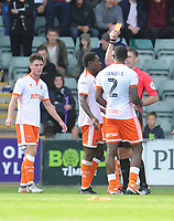 Blackpool's Donervon Daniels is shown a red card by Referee Neil Hair<br /> <br /> Photographer Kevin Barnes/CameraSport<br /> <br /> The EFL Sky Bet League One - Plymouth Argyle v Blackpool - Saturday 15th September 2018 - Home Park - Plymouth<br /> <br /> World Copyright &copy; 2018 CameraSport. All rights reserved. 43 Linden Ave. Countesthorpe. Leicester. England. LE8 5PG - Tel: +44 (0) 116 277 4147 - admin@camerasport.com - www.camerasport.com