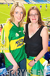 Siobhain O'Connell, Scartaglin and Tina Griffin Dingle Kerry fans pictured at the GAA Chamoionship Quarter Final at Semple Stadium, Thurles on Sunday.