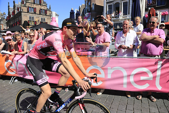 Race leader Tom Dumoulin (NED) Team Giant-Alpecin at sign on before the start of Stage 3 of the 2016 Giro d'Italia running 190km from Nijmegen to Arnhem, The Nethrerlands. 8th May 2016.<br /> Picture: Eoin Clarke | Newsfile<br /> <br /> <br /> All photos usage must carry mandatory copyright credit (&copy; Newsfile | Eoin Clarke)