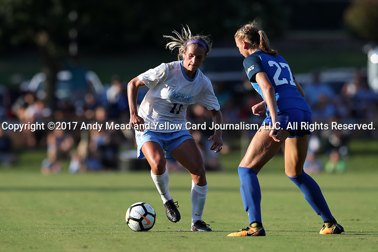 CARY, NC - AUGUST 18: North Carolina's Emily Fox (11) and Duke's Natasha Turner (27). The University of North Carolina Tar Heels hosted the Duke University Blue Devils on August 18, 2017, at Koka Booth Stadium in Cary, NC in a Division I college soccer game.