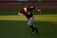 Quad Cities River Bandits outfielder Marc Wik (6) tracks a ground ball during a game against the Cedar Rapids Kernels on August 18, 2014 at Perfect Game Field at Veterans Memorial Stadium in Cedar Rapids, Iowa.  Cedar Rapids defeated Quad Cities 5-3.  (Mike Janes/Four Seam Images)