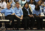 """13 October 2006: UNC Women's basketball head coach Sylvia Hatchell (l) with assistant coaches (from left) Andrew Calder, Tracey Williams-Johnson, and Charlotte Smith-Taylor. The University of North Carolina at Chapel Hill Tarheels held their first Men's and Women's basketball practices of the season as part of """"Late Night with Roy Williams"""" at the Dean E. Smith Center in Chapel Hill, North Carolina."""